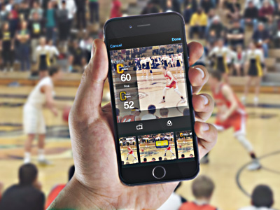 App in use basketball action